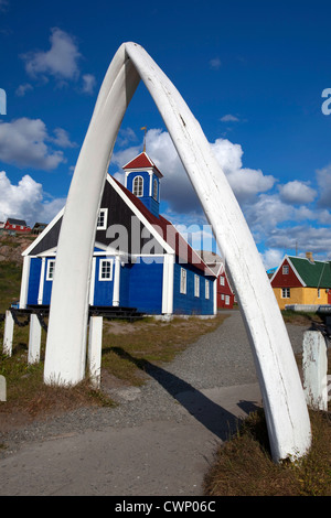 Large whalebone erected outside the  Bethel Church, dating to 1775 in Sisimiut, the second largest town in Greenland. - Stock Photo