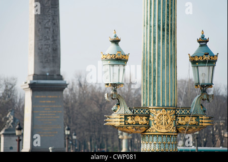 Ornate lamp post in Place de la Condorde, Paris, France - Stock Photo