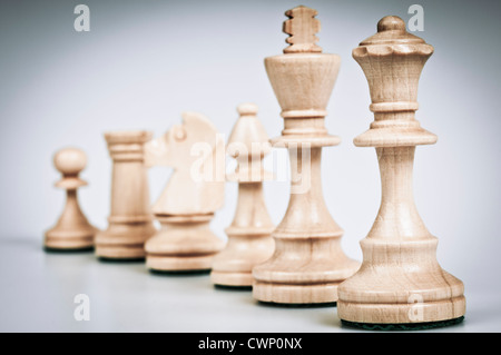 set of chess pieces white - Stock Photo