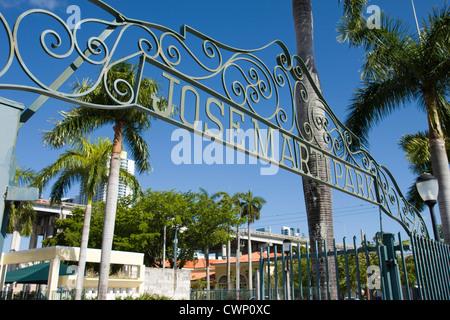 ENTRANCE GATE SIGN JOSE MARTI PARK LITTLE HAVANA MIAMI FLORIDA USA - Stock Photo