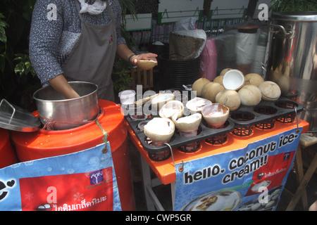 Coconut ice cream stall - Stock Photo