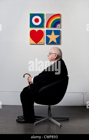 Sir Peter Blake, artist, known affectionately as The Godfather of British Pop Art. Celebrated for the Beatles Sgt. - Stock Photo