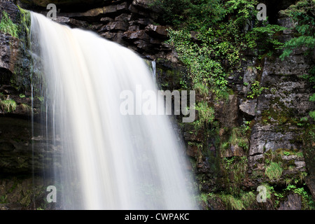 Cascading water at Thornton Force, Ingleton, North Yorkshire - Stock Photo