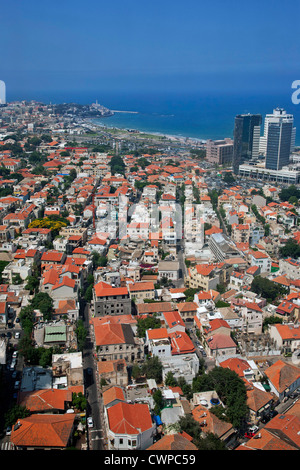 Middle East. Israel. Tel Aviv. Aerial view of city and Mediterranean Sea. - Stock Photo