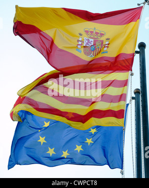 3 flags Spanish, Catalan, European Community  EC,   European Economic Community CEE - Stock Photo