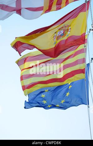 4 flags Spanish, Catalan, European Community  EC,   European Economic Community CEE, Barcelona, - Stock Photo