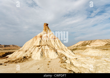Cabezo de Castildetierra in the Bardenas Reales is a semi-desert natural region, or badlands, in southeast Navarre - Stock Photo