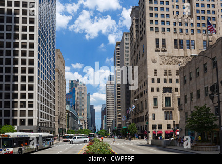 View down the Magnificent Mile from near the Michigan Avenue Bridge, North Michigan Avenue, Chicago, Illinois, USA - Stock Photo