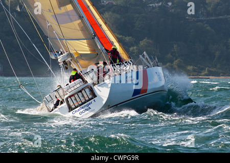 2012 England Isle of Wight RTI Round the Island United Kingdom Yacht sail sailing yachting gaff rigged Solent rough - Stock Photo