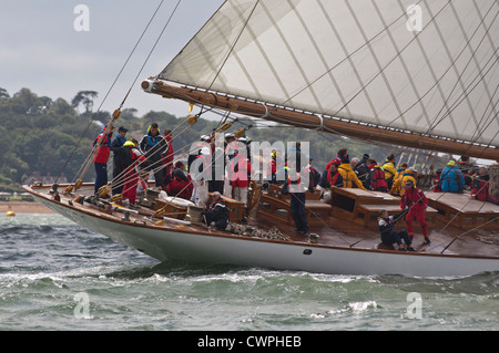 Classic yacht Eleonora sailing around the Isle of Wight passed the Needles competing in the 2012 JP Morgan Round - Stock Photo