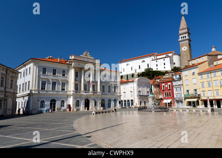 Tartini Square in Piran, Slovenia - Stock Photo