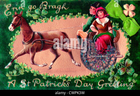 Erin go bragh irish ireland flag painting is colorful on wood of erin go b erin go bragh a st patricks day greeting irish couple with horse and m4hsunfo
