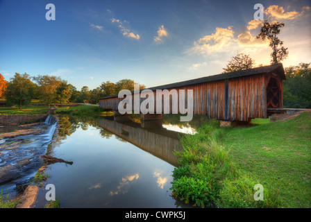 Old covered bridge in Watson Mill State Park, Georgia, USA. - Stock Photo