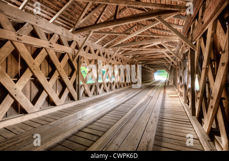 Interior of an old covered bridge in Watson Mill State Park, Georgia, USA. - Stock Photo