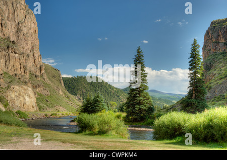 The Rio Grande flows through Wagon Wheel Gap near Creede, Colorado - Stock Photo