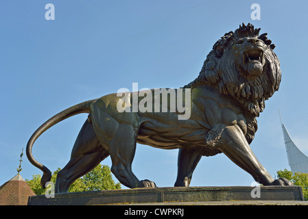 The Maiwand Lion sculpture and war memorial, Forbury Gardens, Reading, Berkshire, England, United Kingdom - Stock Photo