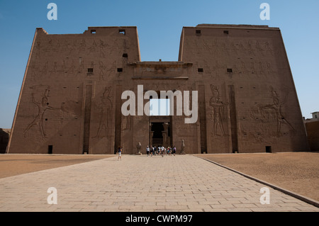 Edfu temple Nile valley, temple dedicated to Horus God in Upper Egypt - Stock Photo
