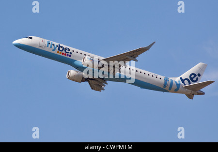 Flybe Embraer  ERJ-190-200LR, Gatwick Airport, Sussex, England - Stock Photo
