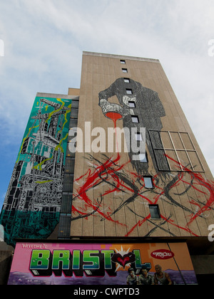 Three Separate Pieces of Street-Art in Same Location, Bristol - Stock Photo