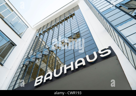 Bauhaus Building and architecture school designed by Walter Gropius in Dessau Germany - Stock Photo