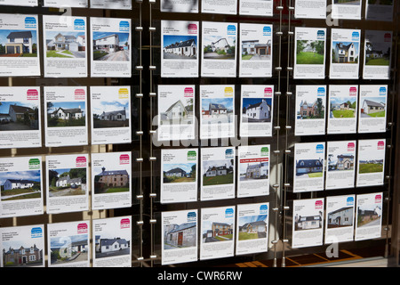 properties for sale in the window of an estate agency Inverness highland scotland uk - Stock Photo