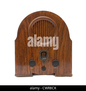 Vintage radio device over a white background - Stock Photo