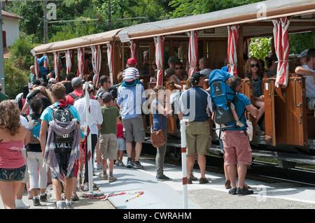 Le Petit Train de La Rhune a mountain railway in the Basque region at the French Spanish border - Stock Photo