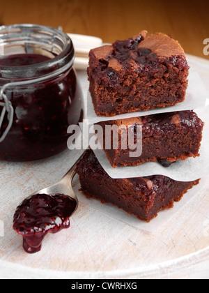 Brownies with jam - Stock Photo