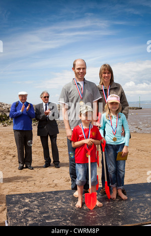 UK, England, Lancashire, Morecambe, Sandcastle Festival family category winners - Stock Photo