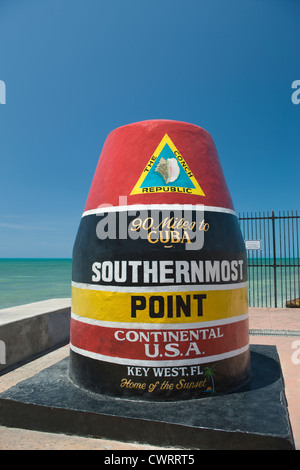 SOUTHERNMOST POINT IN CONTINENTAL UNITED STATES MONUMENT KEY WEST FLORIDA USA - Stock Photo