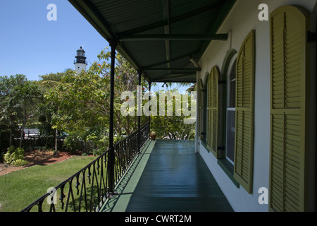 TOP FLOOR BALCONY ERNEST HEMINGWAY HOME MUSEUM KEY WEST OLD TOWN HISTORIC DISTRICT FLORIDA USA - Stock Photo