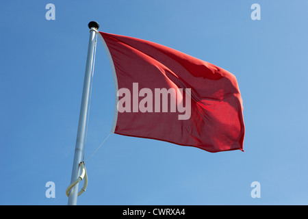 red flag flying marking the hanoverian (english) line Culloden moor battlefield site highlands scotland - Stock Photo