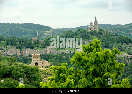 Ruins on the hill Tsarevets in the Old city of Veliko Tarnovo in Northern Bulgaria - Stock Photo