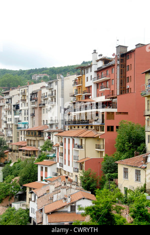 Houses on the bank of the River Yantra in the Old city of Veliko Tarnovo in Northern Bulgaria - Stock Photo