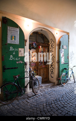 Prague, Czech Republic: Books, bicycles, and bric-a-brac are common sights in this city's old town. Editorial use only.