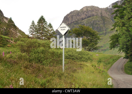 Passing place road sign in the highlands of Scotland - Stock Photo