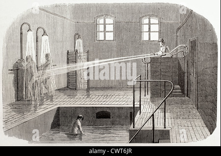 Hydrotherapy in Sainte Anne asylum - Stock Photo