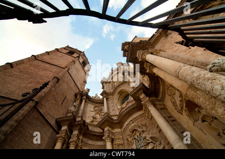 Detail of the baroque entrance of the Cathedral of Valencia and El Miguelete, Valencia, Spain - Stock Photo