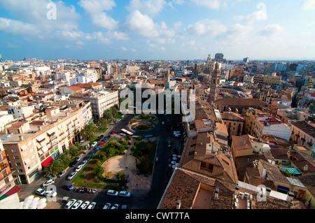 View of Plaza de la Reina taken from El Miguelete, Valencia, Spain - Stock Photo