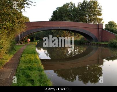 Foot Bridge over the Grand Union Canal, Milton Keynes, UK - Stock Photo