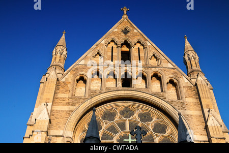 United Kingdom. England. London. Upper facade of St. John the Baptist church. Royal Borough of Kensington and Chelsea. - Stock Photo