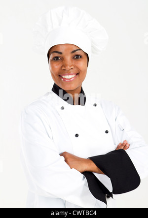 female african american chef in uniform - Stock Photo