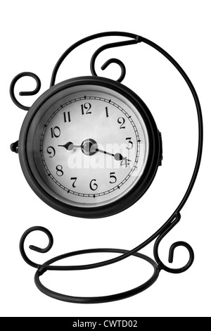Vintage clock,isolated on the white background - Stock Photo