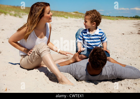 Couple spending fun summer weekend with their son - Stock Photo