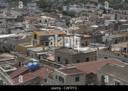 Aeolian island . Lipari with its roofs - Stock Photo
