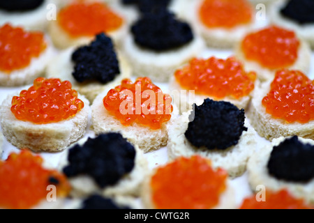 Red and black caviar on slices of bread - Stock Photo