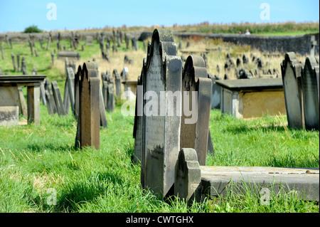 st marys church graveyard whitby north yorkshire england uk - Stock Photo