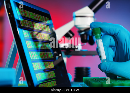 Analysis of DNA sequences in genetic laboratory - Stock Photo