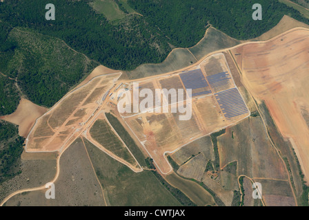 Aerial view of solar power station in construction (north part), Les Mees, Alpes de Haute Provence, France - Stock Photo