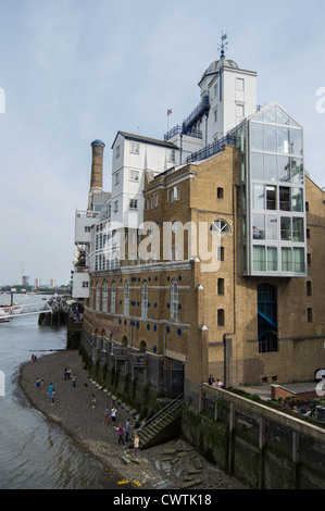 Butler's Wharf from Tower Bridge, London, Shad Thames - Stock Photo